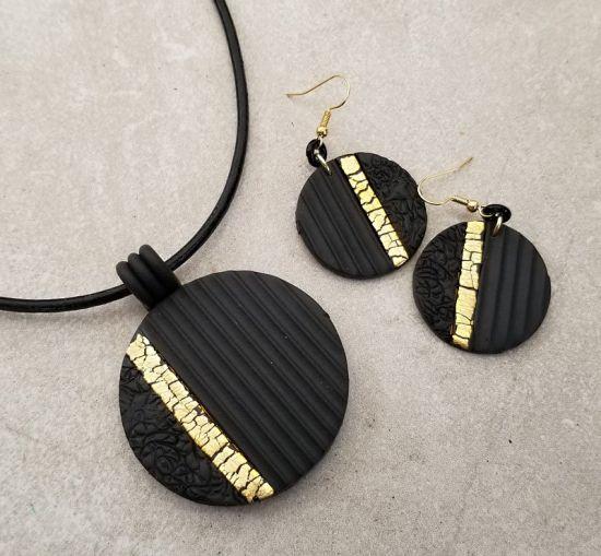 Souffle Matte Black and Foil Jewelry Set