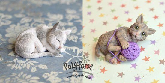 Premo clay cat sculptures