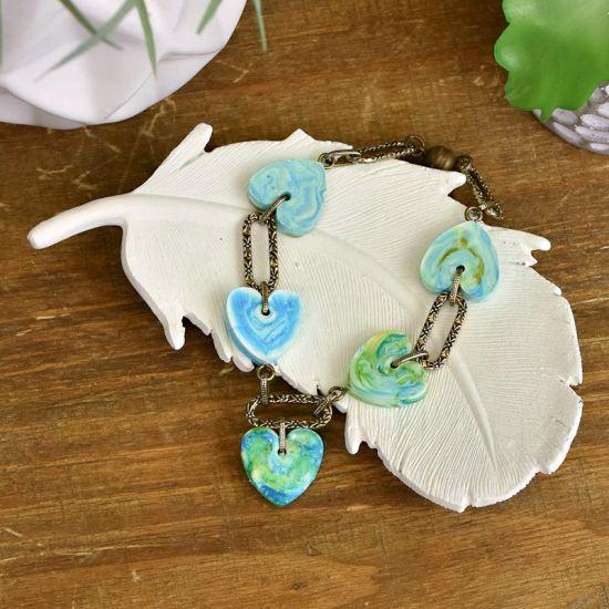 Liquid Sculpey® Ink Poured Heart Charm Bracelet