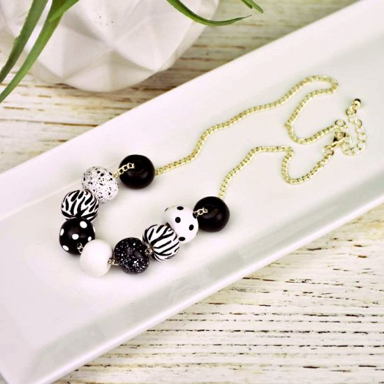 Sculpey Air-Dry Clay Dramatic Black and White Bead Necklace