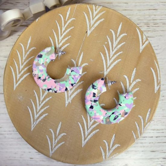 Sculpey Premo™ Pastel Terrazzo Marbled Earrings