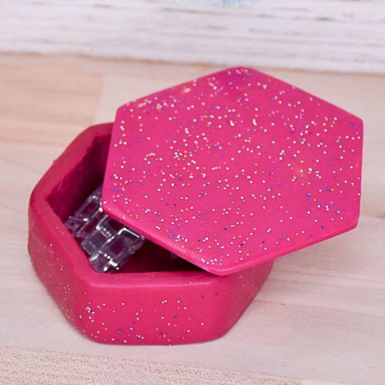Sculpey Premo™ Fuchsia and Liquid Sculpey® Confetti Clear Trinket Box