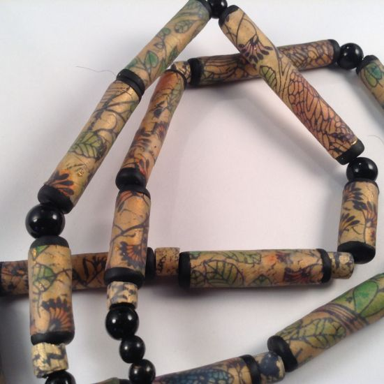 Faux Reverse Glass Painted Tube Beads