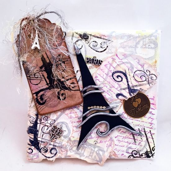 Premo! Paris-Themed Mixed Media Collaged Canvas