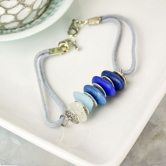 Liquid Sculpey® Pebbles of Blue Bracelet
