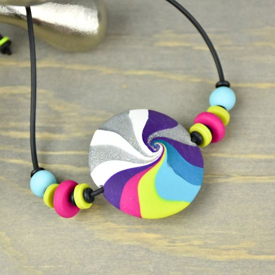 Sculpey Premo™ Swirling Rainbow Pendant