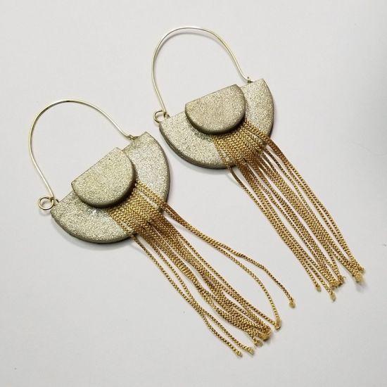 glitter premo art deco clay earrings