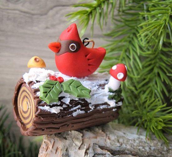 Premo! Cardinal Yule Log Ornament