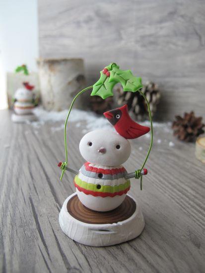 premo! Yule Log Snowman Mini Sculpture