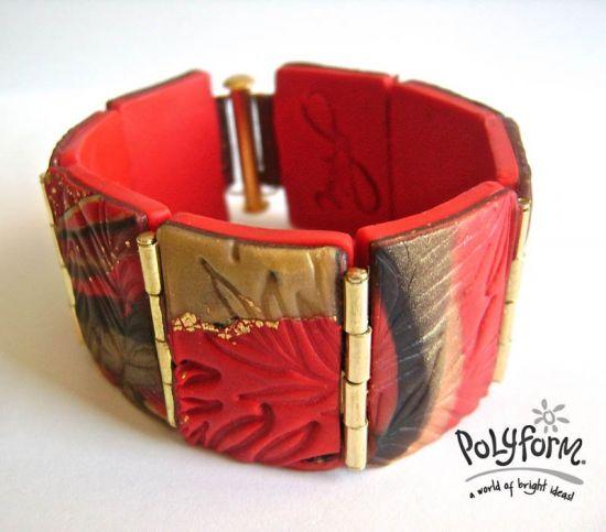 Premo! Golden Hinged Clay Bead Bracelet