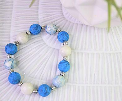 Blue Glitter Marbled Beaded Bracelet