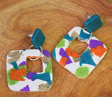 Granite Terrazzo Slab Earrings with blue, purple, orange, and green detail