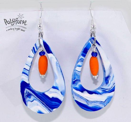 Sculpey® III Marbled Teardrop Earrings