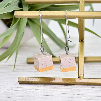 Liquid Sculpey® Cubes of Granite Earrings
