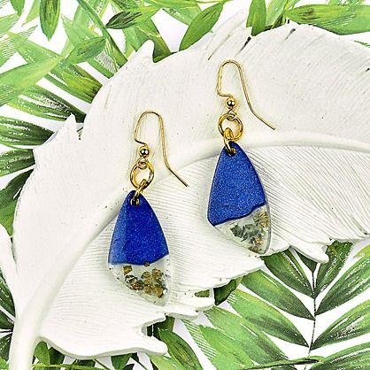Liquid Sculpey ® Navy Metallic and Gold Leaf Earrings