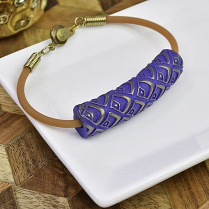 Sculpey Soufflé™ Midnight Blue Textured Bead Bracelet