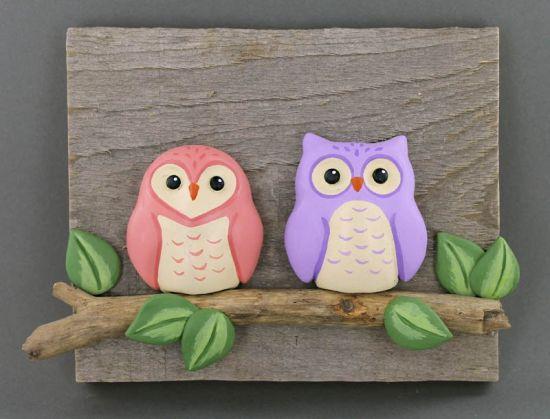 Original Sculpey Reclaimed Wood Owls Plaque