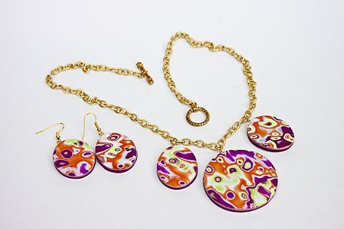 Sculpey Soufflé Controlled Chaos Necklace and Earrings