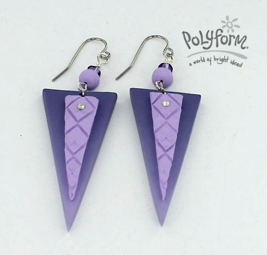 Sculpey III Stacked Triangle Earrings