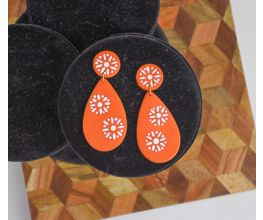 Orange Faux Ceramic Earrings with white detail
