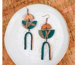 Forest Green Coppered Earrings