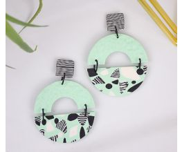 Mint Green Faux Terrazzo Earrings with black and white detail