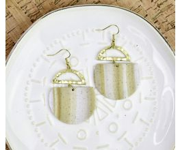 Gold Faux Granite Striped Earrings