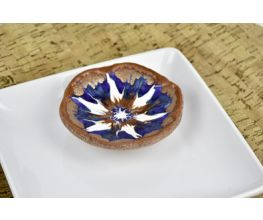 Copper Cling Dish with a Blue and White Flower design