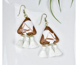White and Brown Tassel Trio Earrings