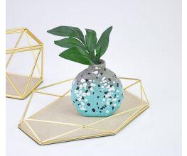 Turquoise Terrazzo Plant Vase