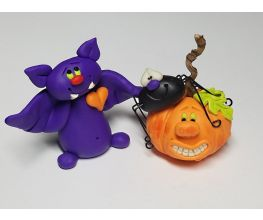 Purple/Sweet Halloween Bat and Jack o'Lantern with Spider Friend