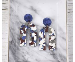 Blue Terrazzo Arch Earrings with white, gray, and brown detail
