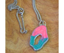 Glitter Agate Pendant with pink and turquoise detail