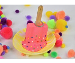 Pink and Yellow Popsicle Trinket Dish with rainbow sprinkles