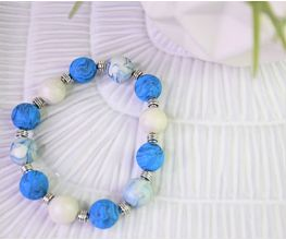Blue Glitter Marbled Beaded Bracelet