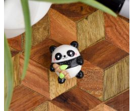 Black and White Panda Charm holding bamboo