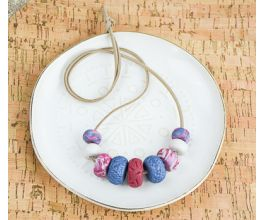 Chunky Beaded Necklace with Purple, Blue, White, and Marble beads