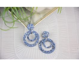 Blue Silkscreened Multi-Circle Earrings