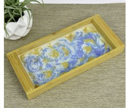 Art Resin Poured Tray with blue detail