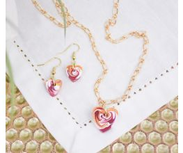 Gold Hearts for Everyone necklace and earrings with a pink marble pendants