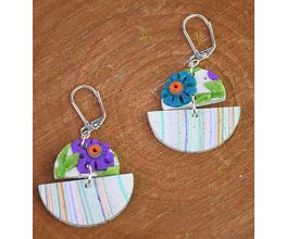 Granite Marble Slab Earrings with purple and blue flowers on them
