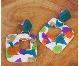 Granite Terrazzo Slab Earrings with blue, purple, orange, and green detail