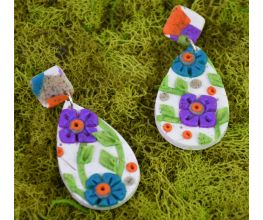 Sculpey PremoTM Granite Floral Slab Earrings