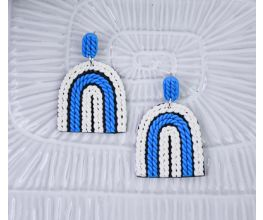 Blue and White Rainbow shaped earrings