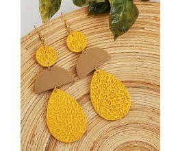 Sculpey Soufflé™ Ochre Color Block Earrings