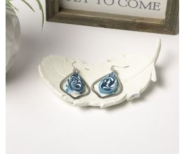 Metal Earrings with Blue and white marbling
