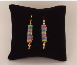 Sculpey Premo™  Soft Stripes Wire Wrapped Earrings