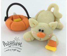 Sculpey® III Glow in the Dark Sprawled Out Kitty with Pumpkin Basket