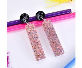Liquid Sculpey® Confetti Clear Bar Earrings