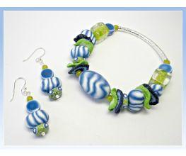 premo! Denim Blue Pod Bracelet & Earrings